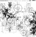"""Folia - Transparent foil """"Steampunk flowers"""""""