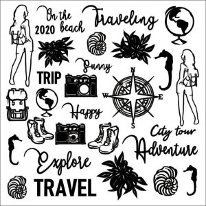 Tekturka /Chipboard set Travel the world