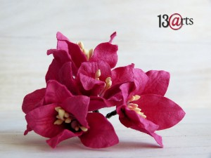 Lily flowers 5 pc - dark pink