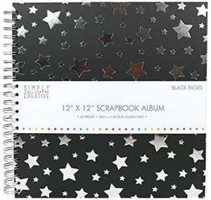 12x12 Inch Scrapbook Album Black with Stars