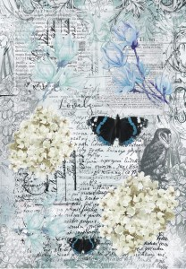BLUE MAGNOLIA A4 Butterfly collage