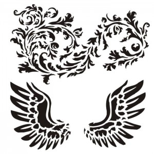 Maska-Stencil Wings with ornament
