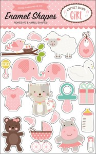 Sweet Baby Girl Enamel Shapes